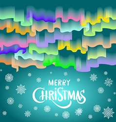 Merry Christmas in the form of Northern Lights in vector image vector image