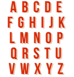 Nice red retro alphabet set vector image vector image
