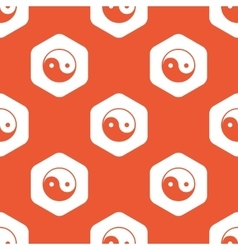 Orange hexagon ying yang pattern vector