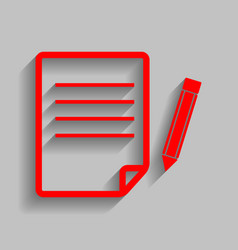Paper and pencil sign red icon with soft vector