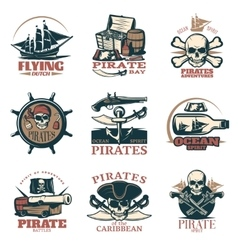 Pirates emblem set in color vector