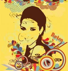 retro girl vector image vector image