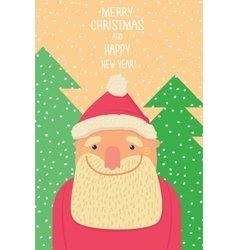 Santa claus smiling background of christmastrees vector