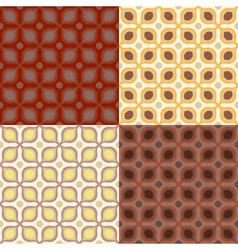 Set of 4 seamless pattern in 1970s style vector