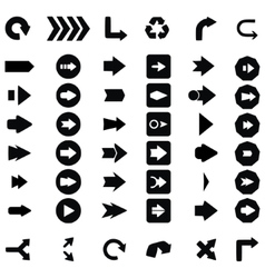 Set of black universal arrows vector image