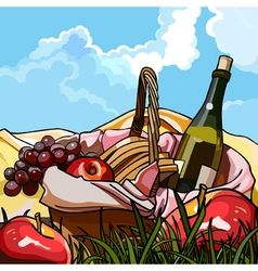 still life picnic basket with fruit and a bottle vector image vector image