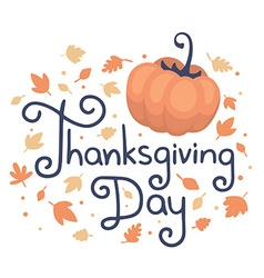 Thanksgiving with text thanksgiving day pum vector