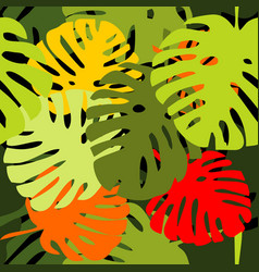 Tile tropical pattern with exotic leaves vector