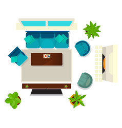 Top view living room interior element vector