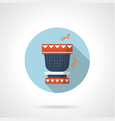 Tribal rhythm flat blue round icon vector