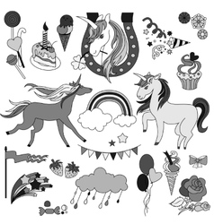 Unicorns with rainbow clouds and flags in black vector
