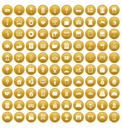100 hotel icons set gold vector