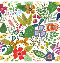 Tropical seamless pattern with leaves and flowers vector image