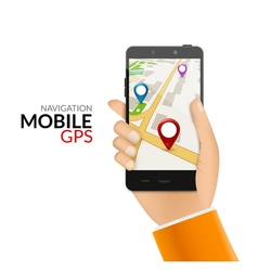 GPS phone navigation - mobile gps and tracking vector image