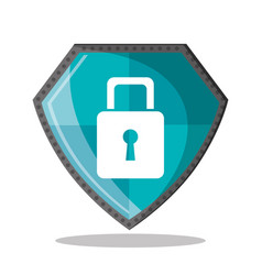 Cyber security shield protection padlock vector