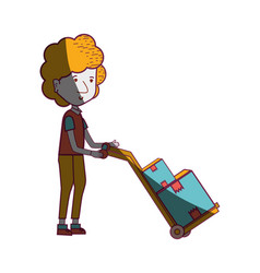 Delivery man with packages in transport tool vector