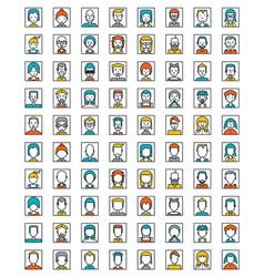 Mega set of avatars flat style design vector