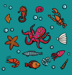 marine life in cartoon style on a blue background vector image