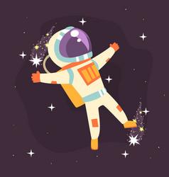 Astronaut in space suit at spacewalk vector