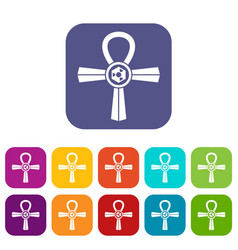 Egypt ankh symbol icons set flat vector