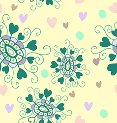 Seamless pattern of green doodle flowers vector