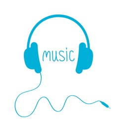 Blue headphones with cord and word music isolated vector