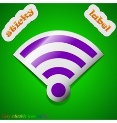 Wi-fi icon sign symbol chic colored sticky label vector