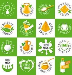 large set of logos dairy products vector image