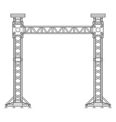 Dark contour truss tower lift construction vector