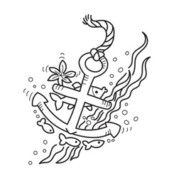 Drawing of sunken anchor vector