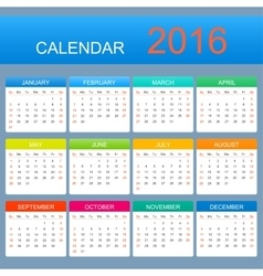 Template calendar 2016 years week starts vector