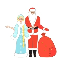 Isolated santa claus and snow maiden vector