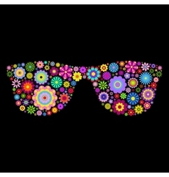Floral eyeglasses on black background vector