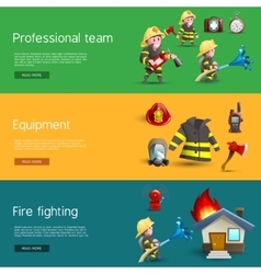 Firefighters team equipment horizontal banners vector