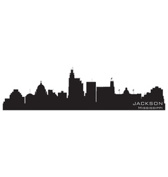 Jackson mississippi skyline detailed silhouette vector
