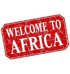 Welcome to africa red square grunge stamp vector