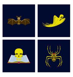 Assembly flat bat ghost book skull vector