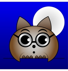 Brown owl with glasses and with the moon vector