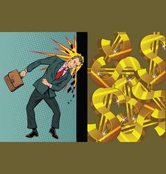 Businessman breaks the wall of his head dollars vector