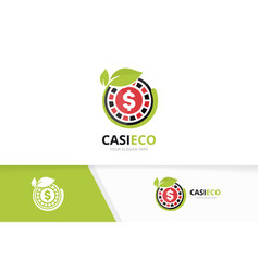 casino and leaf logo combination chip and vector image vector image
