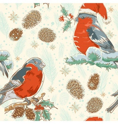 Christmas hand drawn seamless background with bird vector