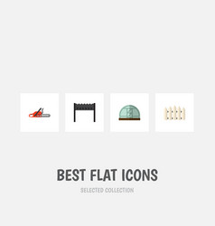 flat icon dacha set of hacksaw wooden barrier vector image