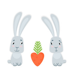 Funny cute bunnies and carrots isolated on white vector