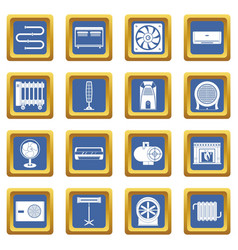Heating cooling air icons set blue vector