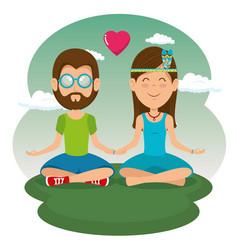 hippie people cartoon vector image