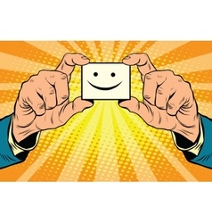 joy Smiley face in hands vector image vector image