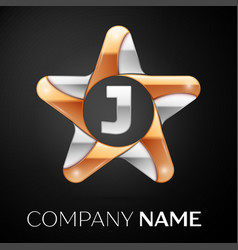 Letter j logo symbol in the colorful star on black vector