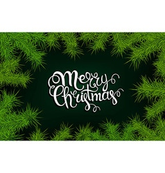 Lettering merry christmas frame of fir branches vector