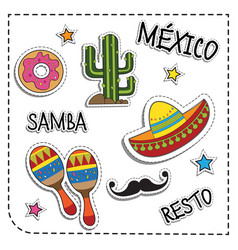 Mexican party sticker applique mexico style vector