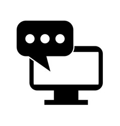 monitor computer whit speech bubble vector image